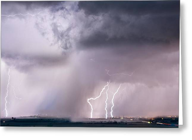 Thunder And Light Greeting Card by Leland D Howard