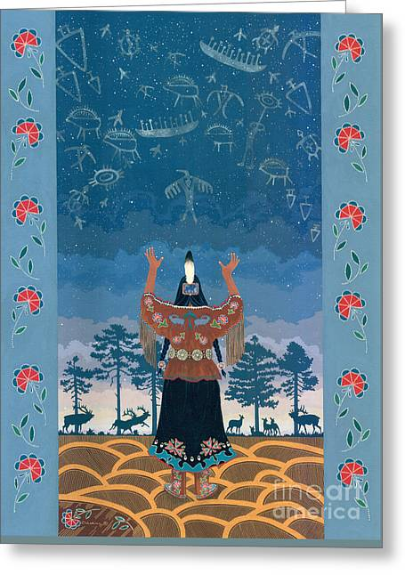 Greeting Card featuring the painting Thunder Girl II by Chholing Taha