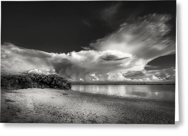 Thunder Head Comming Bw Greeting Card by Marvin Spates