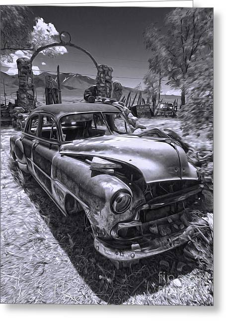 Thunder Mountain Indian Monument -  Car Wreck Greeting Card by Gregory Dyer