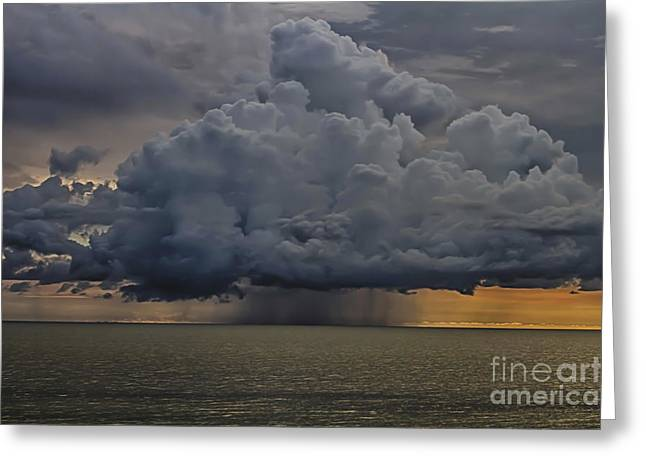 Thunder Storm Cloud Over The Gulf Of Mexico Greeting Card by Robert Wirth