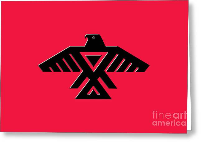 Thunderbird Emblem Of The Anishinaabe People Black On Red Version Greeting Card