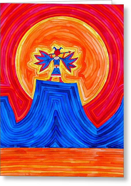 Thunderbird Original Painting Sold Greeting Card by Sol Luckman