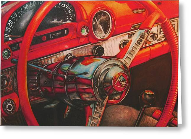 Thunderbird Red Greeting Card by Kathleen Bischoff