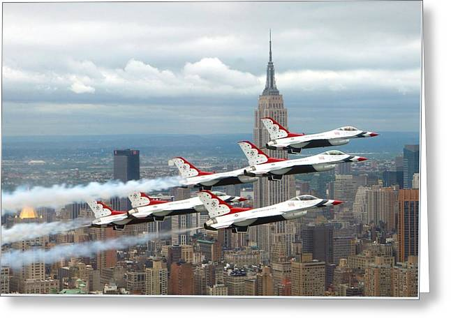 Thunderbirds Over New York City Greeting Card by U S A F