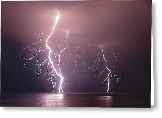 Thunderbolt Over The Sea Greeting Card