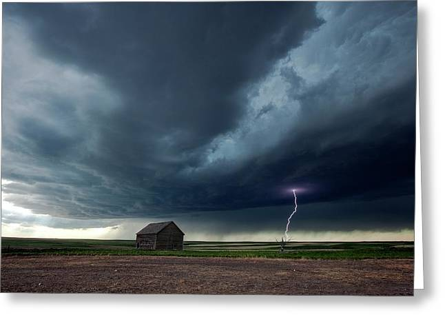 Thunderstorm And Barn Greeting Card by Roger Hill