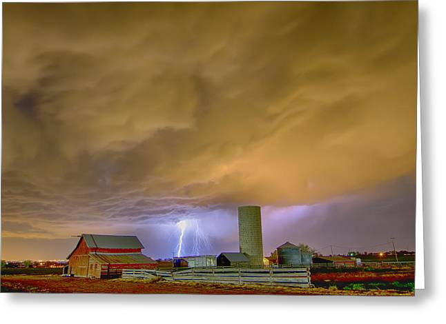 Thunderstorm Hunkering Down On The Farm Greeting Card by James BO  Insogna