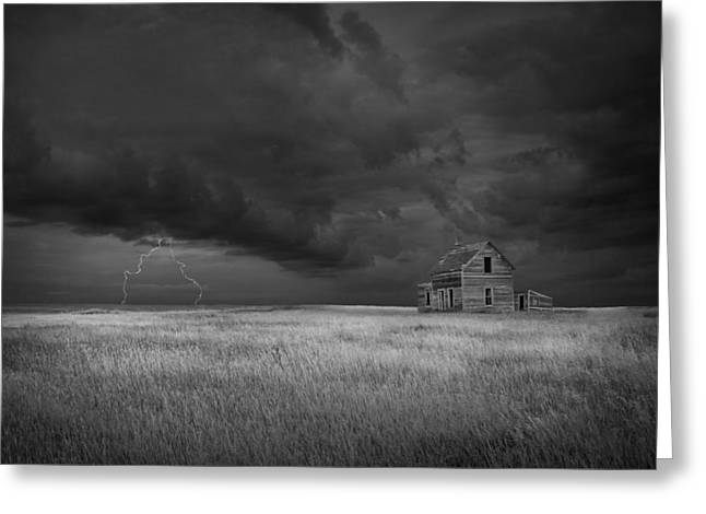 Thunderstorm On The Prairie In Black And White Greeting Card by Randall Nyhof