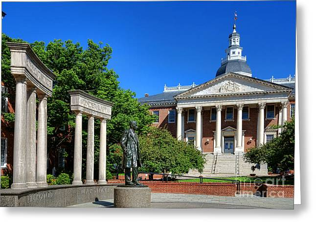 Thurgood Marshall Memorial And Maryland State House Greeting Card by Olivier Le Queinec