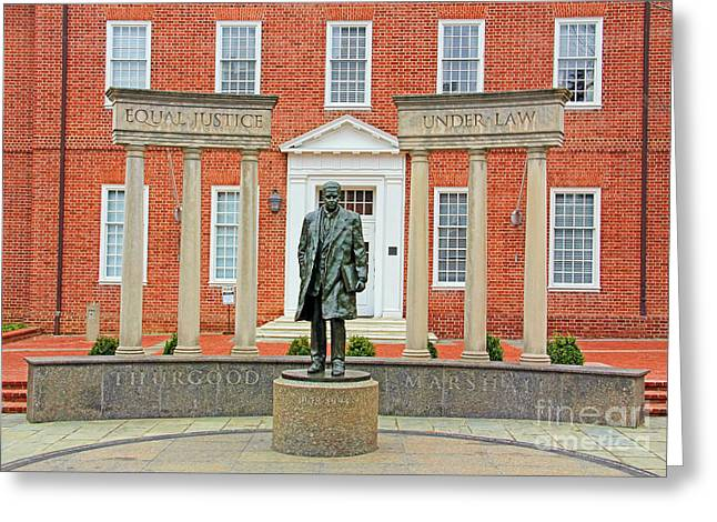 Thurgood Marshall Statue In Annapolis  1199 Greeting Card by Jack Schultz