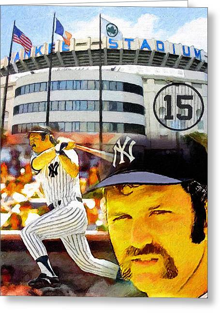 Thurman Munson Yankee For Life Greeting Card by John Farr