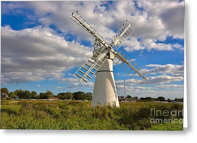Thurne Dyke Windpump On The Norfolk Broads Greeting Card by Louise Heusinkveld