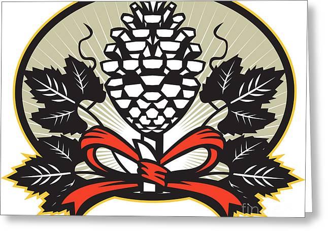 Thyrsus Pine Cone Staff Leaves Retro Greeting Card