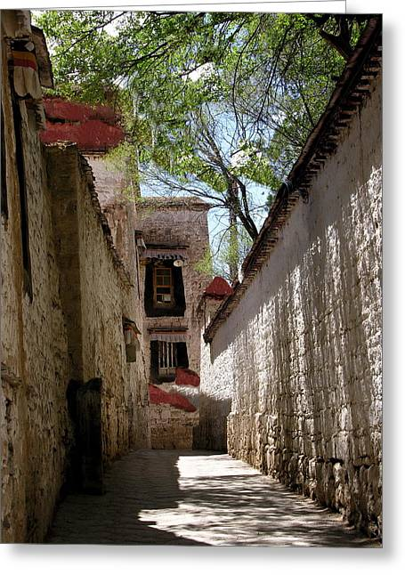 Tibet - Sera Monastery Greeting Card by Jacqueline M Lewis