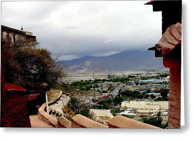 Tibet   Lhasa - Potala Palace - View Of The Dalai Lama Greeting Card by Jacqueline M Lewis