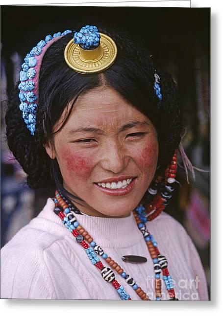 Tibetan Beauty - Lhasa Tibet Greeting Card by Craig Lovell