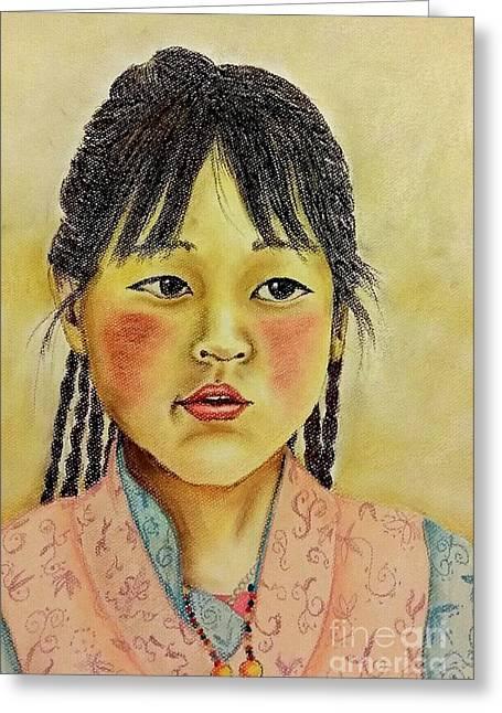 Tibetan Girl Greeting Card by Cris Motta