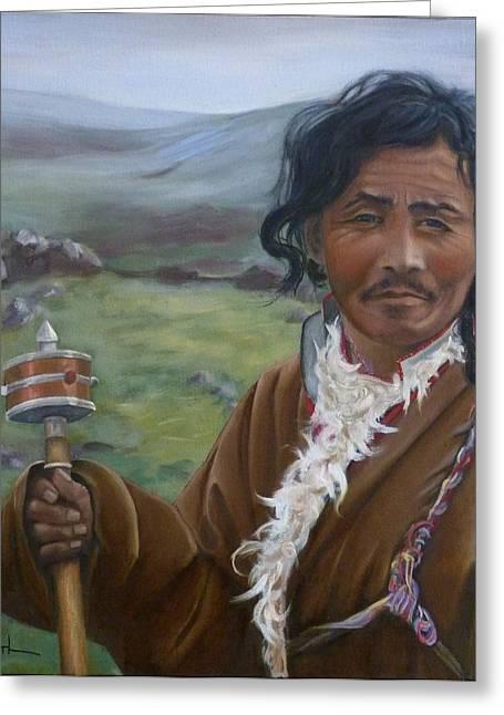 Tibetan Nomad With Prayer Wheel Greeting Card by Birgit Coath