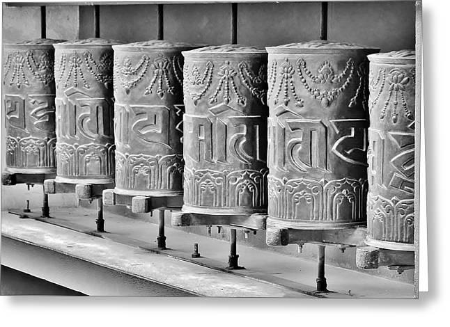 Tibetan Prayer Wheels - Black And White Greeting Card by Kim Bemis