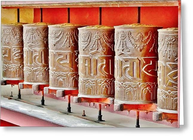 Tibetan Prayer Wheels Greeting Card by Kim Bemis