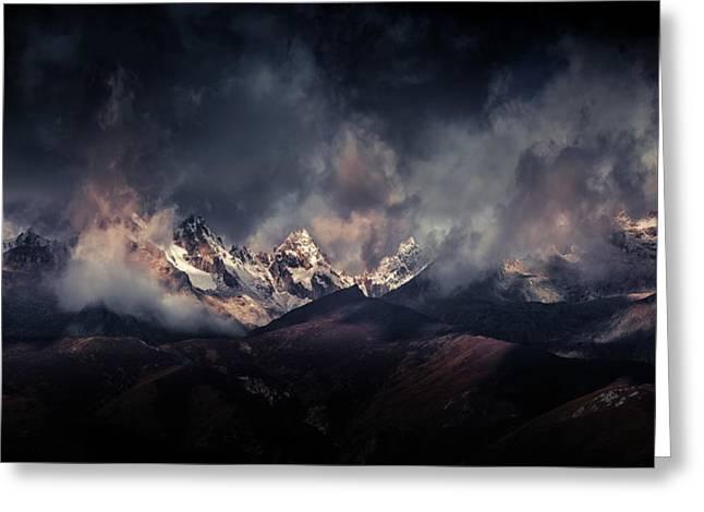 Tibetan Snow Capped Mountains A???c????a????e???ae???a??? Greeting Card