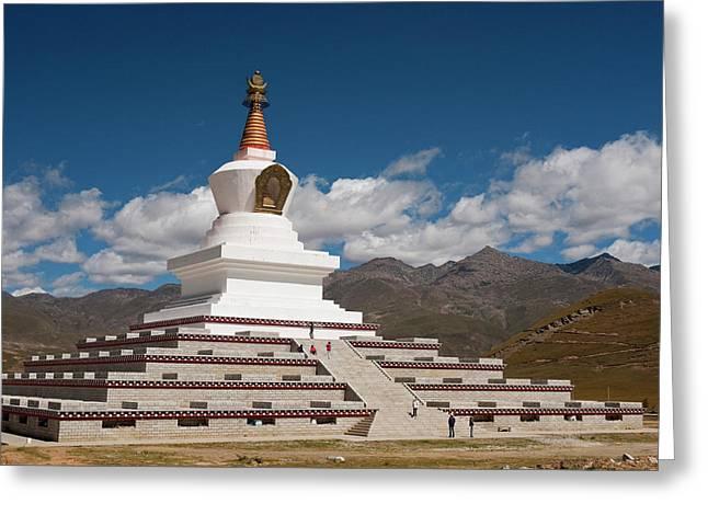 Tibetan Stupa Near Daocheng, Sichuan Greeting Card by Howie Garber