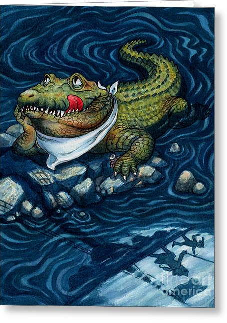 Tick-tock Crocodile Greeting Card by Isabella Kung