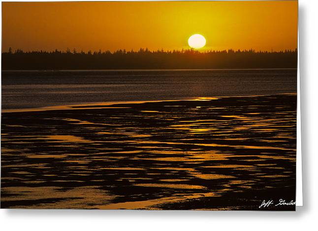 Greeting Card featuring the photograph Tidal Pattern At Sunset by Jeff Goulden