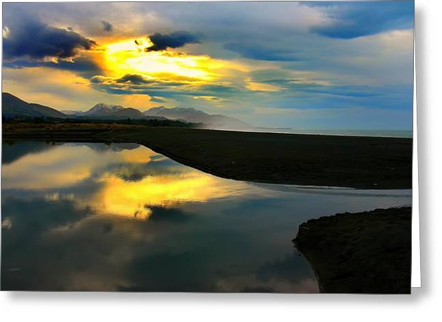 Greeting Card featuring the photograph Tidal Pond Sunset New Zealand by Amanda Stadther