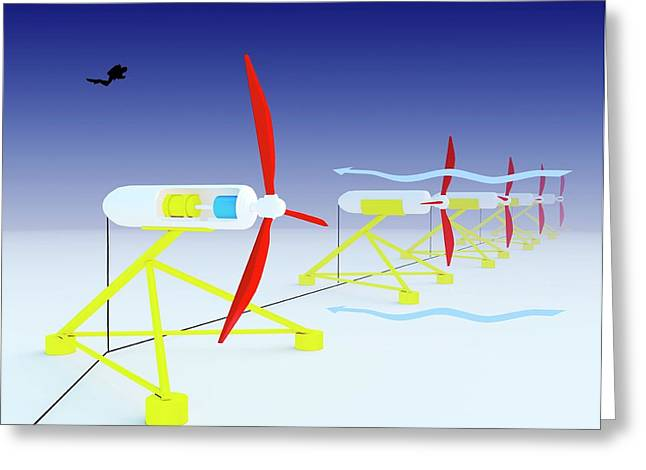 Tidal Turbine Energy Greeting Card by Science Photo Library