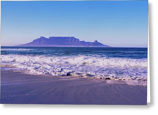 Tide On The Beach, Blouberg Beach, Cape Greeting Card by Panoramic Images