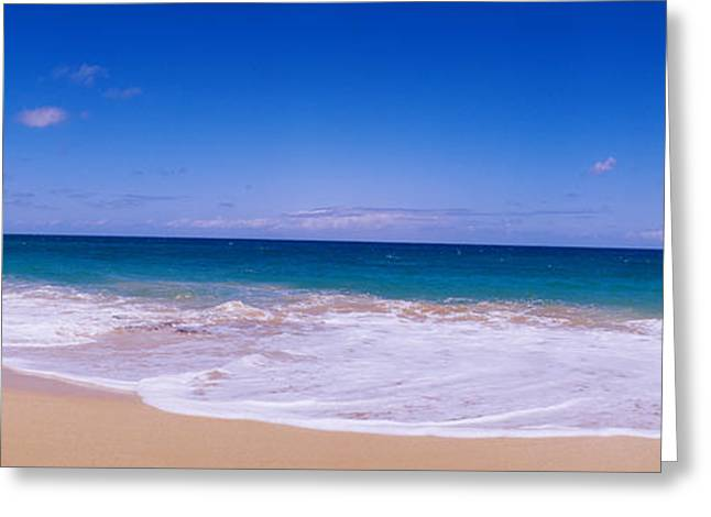 Tide On The Beach, Papohaku Beach Greeting Card by Panoramic Images