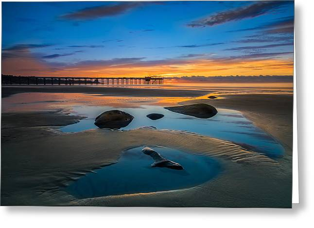 Tide Pool Reflections At Scripps Pier Greeting Card by Larry Marshall