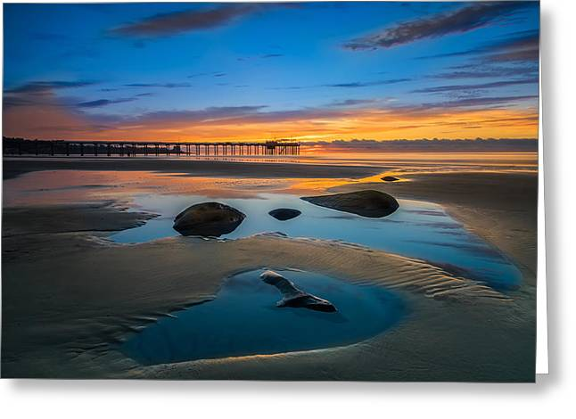 Tide Pool Reflections At Scripps Pier Greeting Card