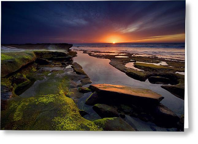 Tidepool Sunsets Greeting Card by Peter Tellone