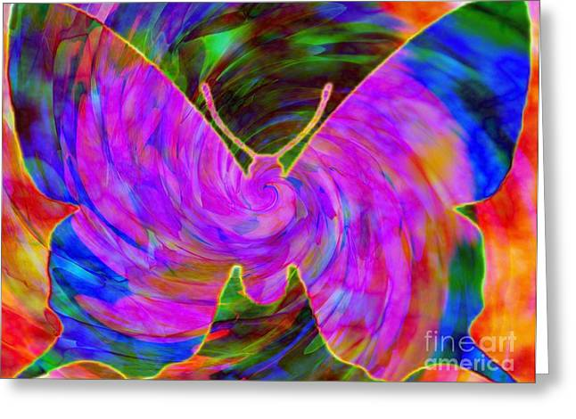 Tie-dye Butterfly Greeting Card by Elizabeth McTaggart