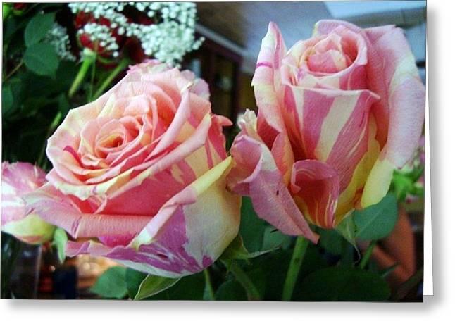 Tie Dye Roses Greeting Card by Deborah Lacoste