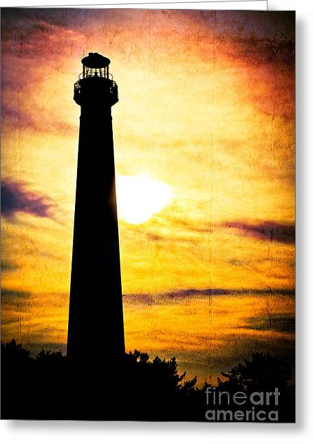 Tie Dye Sky - Lighthouse Greeting Card by Colleen Kammerer