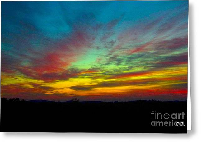 Greeting Card featuring the photograph Tie Dyed Sunrise by Geri Glavis