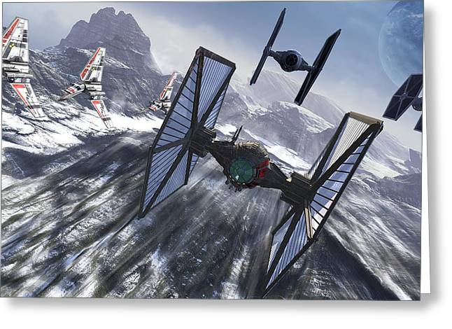 Tie Fighters On Patrol Over An Artic Greeting Card
