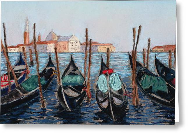 Red Buildings Pastels Greeting Cards - Tied Up in Venice Greeting Card by Mary Benke