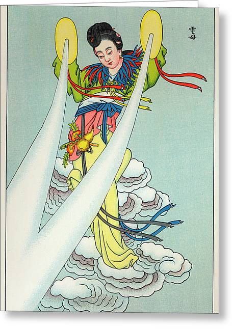 Tien-mou The Mother Of Lightning Greeting Card by Mary Evans Picture Library