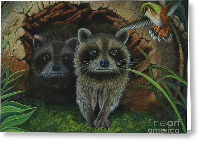 Tiffany And Raccoons Greeting Card
