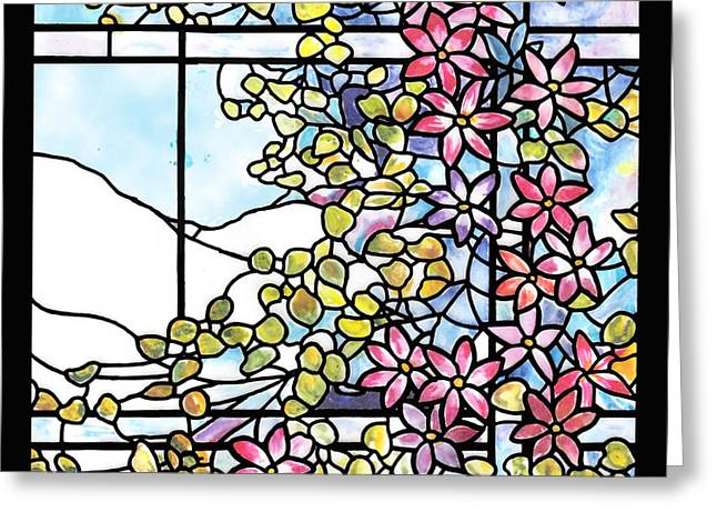 Stained Glass Tiffany Floral Skylight - Fenway Gate Greeting Card