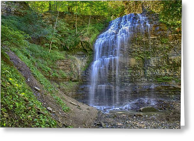 Greeting Card featuring the photograph Tiffany Falls In Summer by Gary Hall