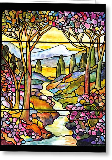 Tiffany Landscape Window Greeting Card
