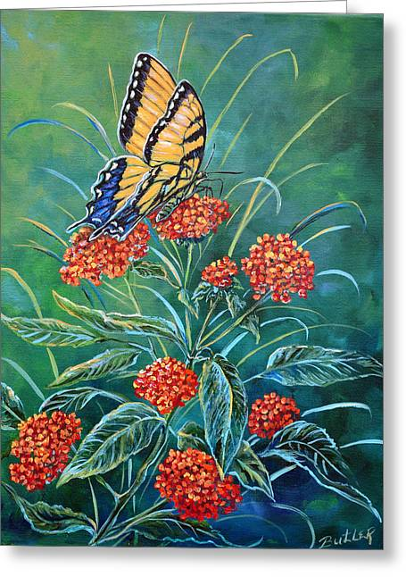 Tiger And Lantana Greeting Card