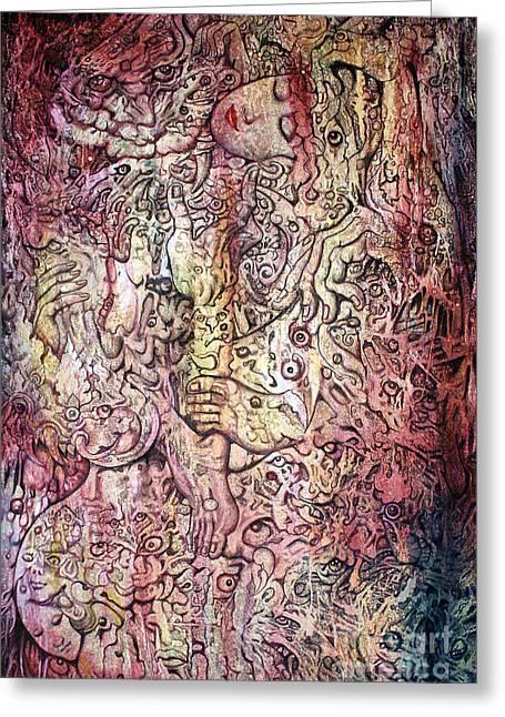 Tiger And Woman Greeting Card by Kritsana Tasingh