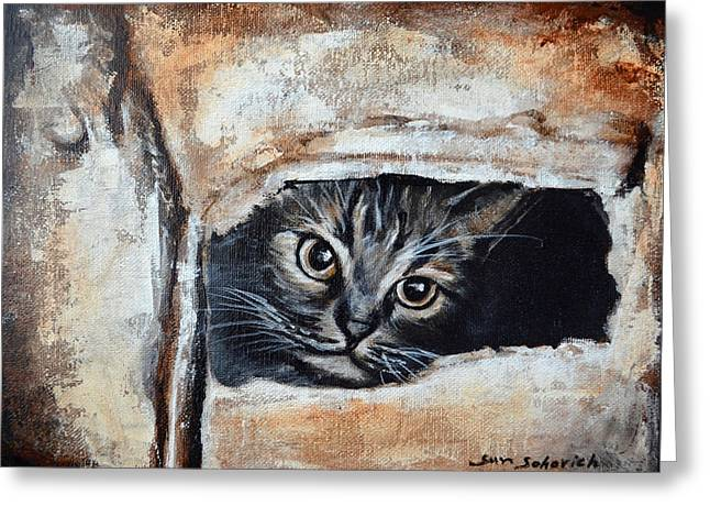 Tiger Cat In A Box Greeting Card by Sun Sohovich